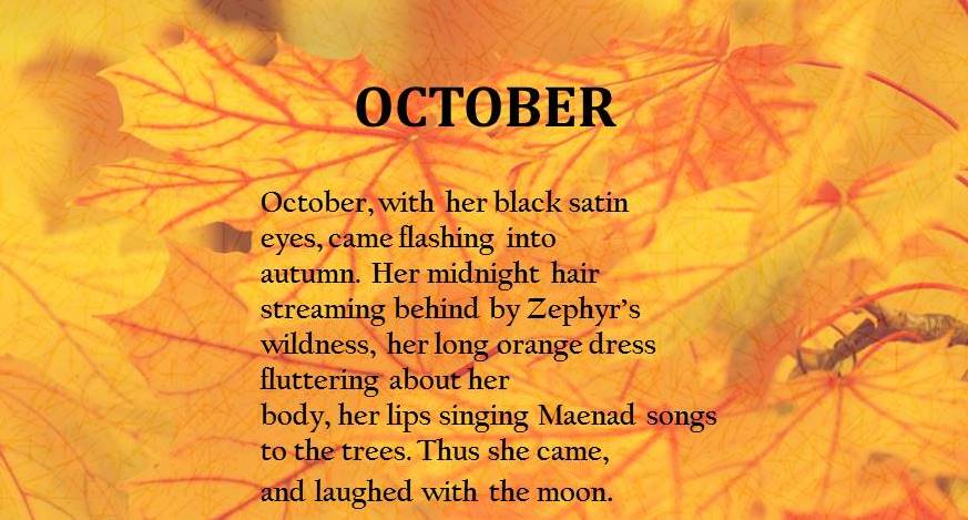 poem in october anaylsis Get access to analysis of dylan thomas poem in october essays only from anti essays listed results 1 - 30 get studying today and get the grades you.